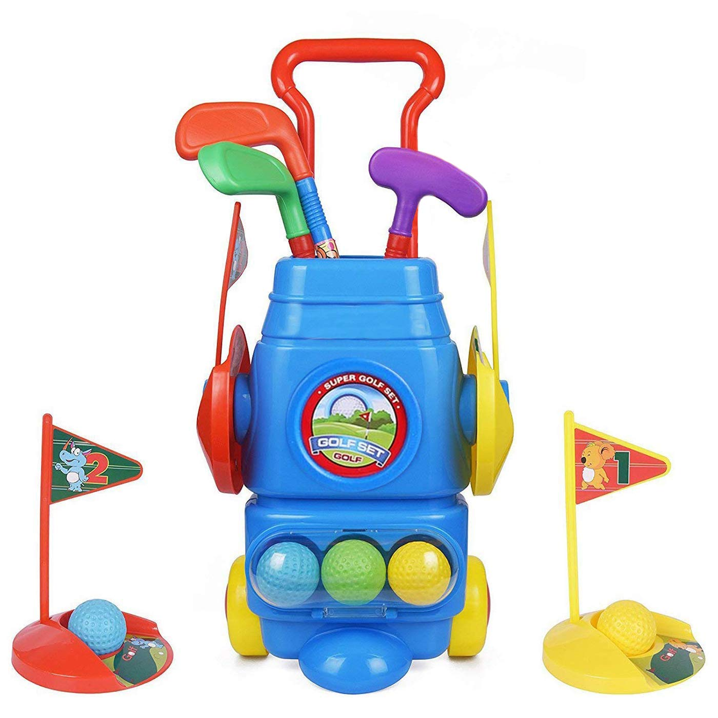 ToyVelt Kids Golf Club Set - Golf CartWith Wheels, 3 Colorful Golf Sticks, 3 Balls & 2 Practice Holes - Fun Young Golfer Sports Toy Kit for Boys &Girls - Promotes Physical & Mental Development by ToyVelt