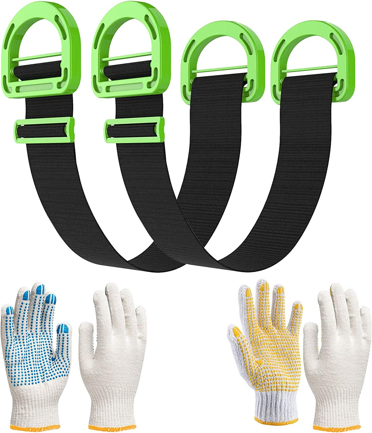 Move Straps, Moving and Lifting Straps Adjustable for Furniture, Box, Mattress, Construction Materials, or Other Heavy, Bulky Objects, Single or Two Person Carrying 2pcs,with Soft Handle