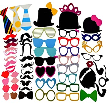 Miayon 58PCS Colorful Props On A Stick Mustache Photo Booth Party Fun Wedding Favor Christmas Birthday