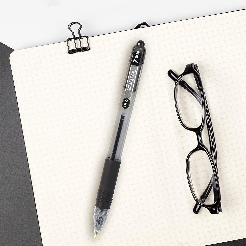 Zebra Pen Z-Grip Retractable Ballpoint Pen 1.0mm 7 Pack Medium Point 1 Black Ink