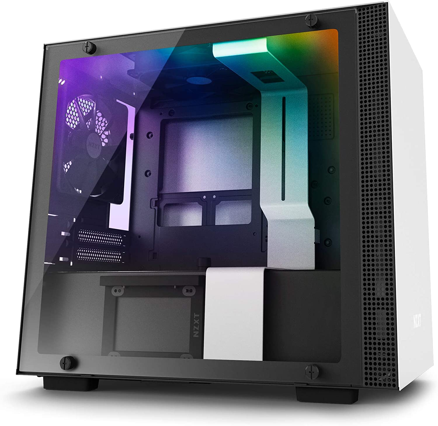 NZXT H200i - Mini-ITX PC Gaming Case - RGB Lighting and Fan Control - CAM-Powered Smart Device - Tempered Glass Panel - Enhanced Cable Management System – Water-Cooling Ready - White/Black