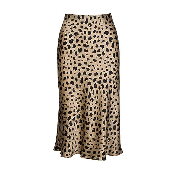 Falda Midi Leopardo de Cintura Alta Mujer Oculta Elasticized ...