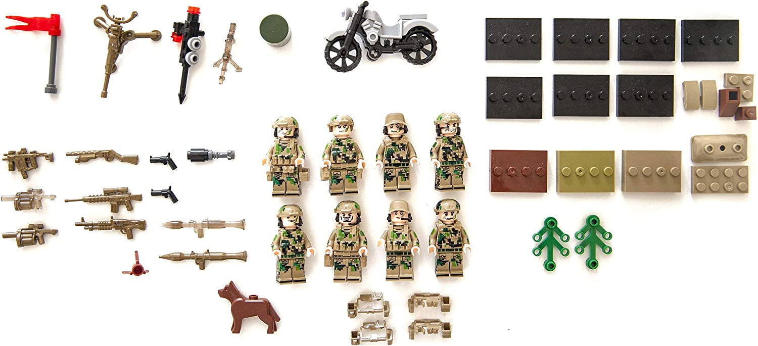 Army Men Minifigures Special Forces Brick Army Men Set of Minifigures Toys Military Army Men Toys War Soldiers Action Figures Tank Motorcycle Plastic Weapons Soldier Gorilla Warfare
