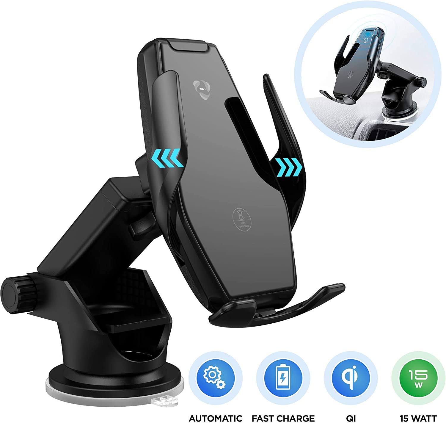 Wireless Car Charger 15W Qi Fast Charging Infrared Sensor Automatic Clamping Mount Windshield Dash Air Vent Holder Dual 3.0A Quick Charge USB Ports Compatible with iPhone Samsung Galaxy LG Smartphone