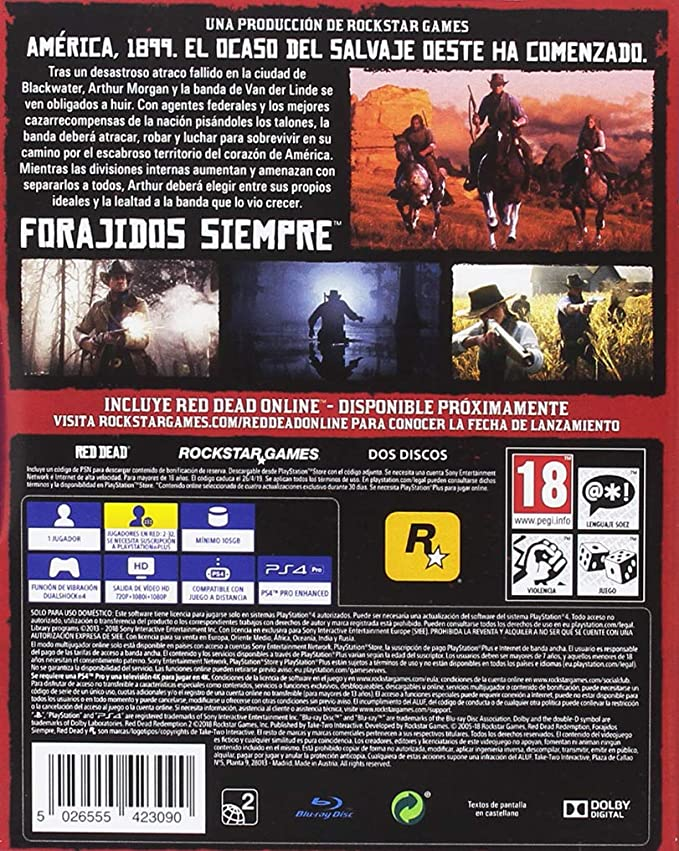 Red Dead Redemption 2 (PS4): Sony: Amazon.es: Videojuegos