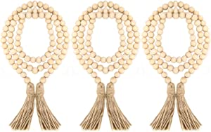 ZOENHOU 3 Pieces 57 Inch Wood Bead Garland with Tassels, Creative Rustic Farmhouse Home Decoration for Country Wall Christmas Tree Hanging Decor