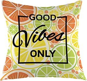 oFloral Good Vibes Only Letter Throw Pillow Cover Fruit Lemon Pillow Case Square Cushion Cover for Sofa Couch Home Car Bedroom Living Room Decor 18