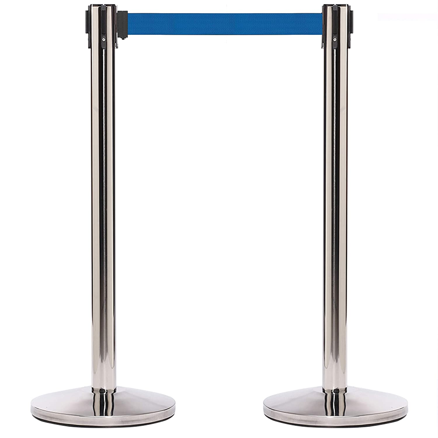 CCW Series RBB-100 10 Foot Belt, Dark Blue Belt with Black Post Set of 2 Stanchion Retractable Belt Barriers No Tools Required Easy to Assemble