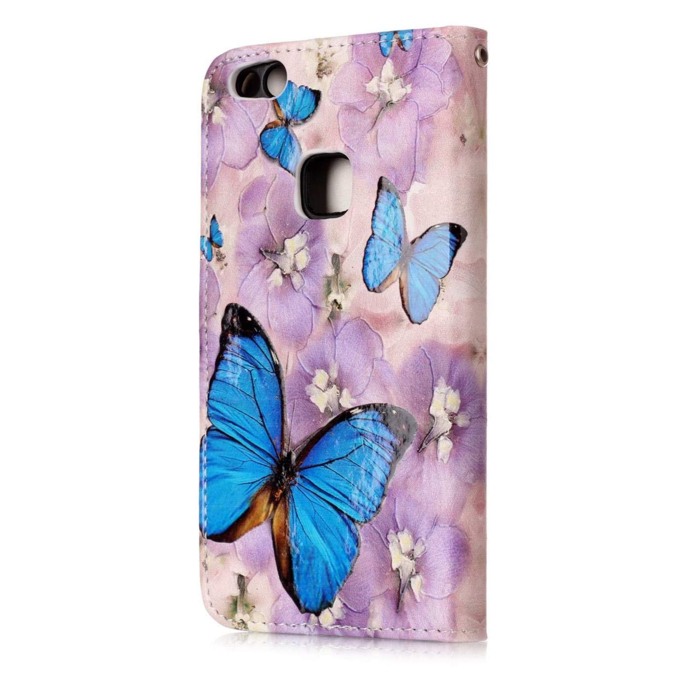 Campanas de Viento Funda para Huawei P10 Lite Carcasa con Tapa Libro 360 Grados PU Leather con TPU Silicona Bumper Case Completa Protectora Folio Tarjetero Flip Leather Case Wallet Cover