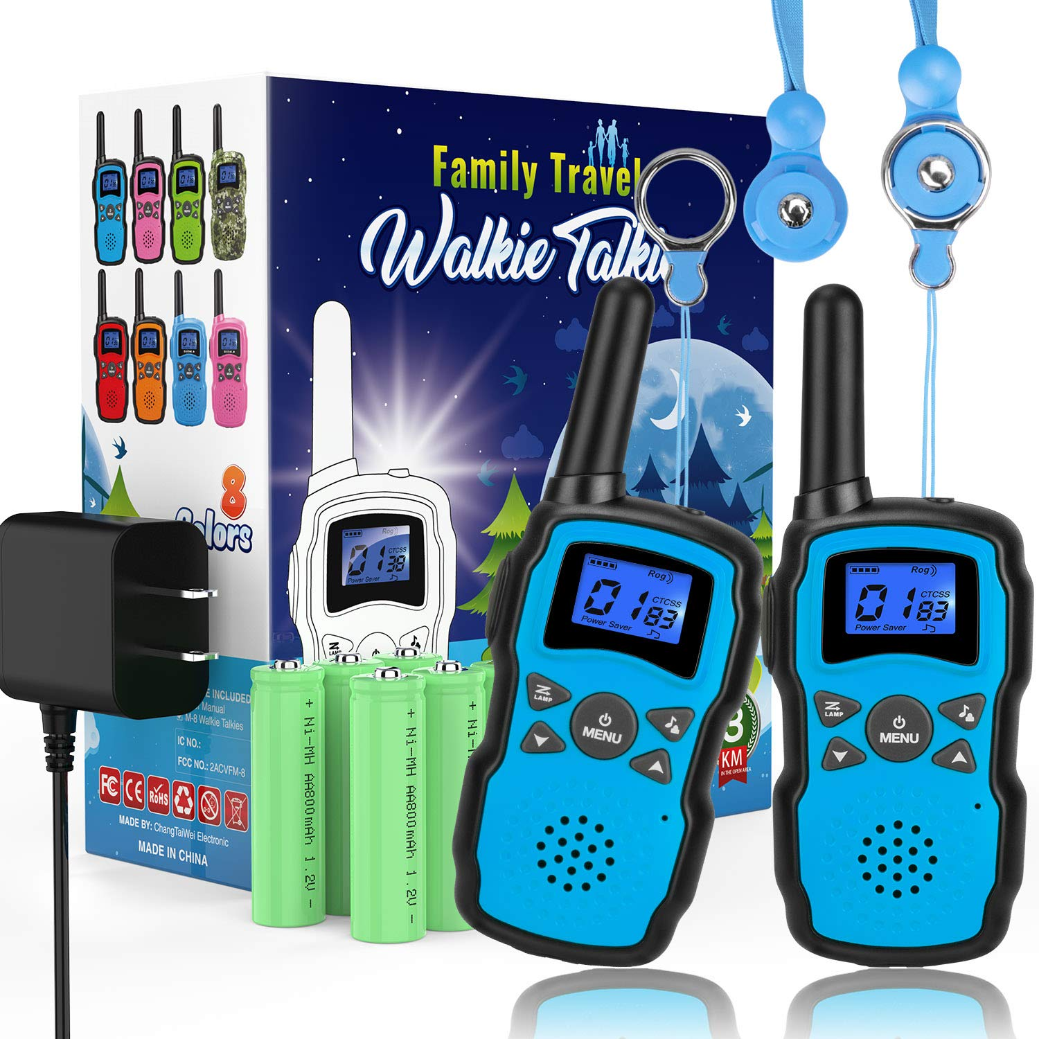 Wishouse 2 Rechargeable Walkie Talkies for Kids with Charger Battery, Two Way Radio Family Talkabout for Adult Cruise Ship Long Range, Outdoor Camping Hiking Fun Toys Birthday Gift for Girls Boys Blue by Wishouse (Image #1)