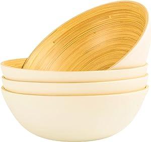 Bamboo Cereal Bowls Set of 4 Serving Bowl for Salad Chip Nut Pasta Fruit Bamboo Dinnerware Sets 33 OZ Diameter Large Bowl Baby Food Bowl Set for Eating Dinner Decor (Matte White)