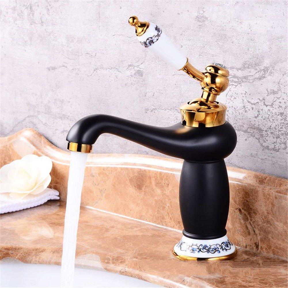 ANNTYE Waschtischarmatur Bad Mischbatterie Badarmatur Waschbecken Messing 1k Lack Gold Warmes und kaltes Wasser der Einhebelsteuerung Badezimmer Waschtischmischer