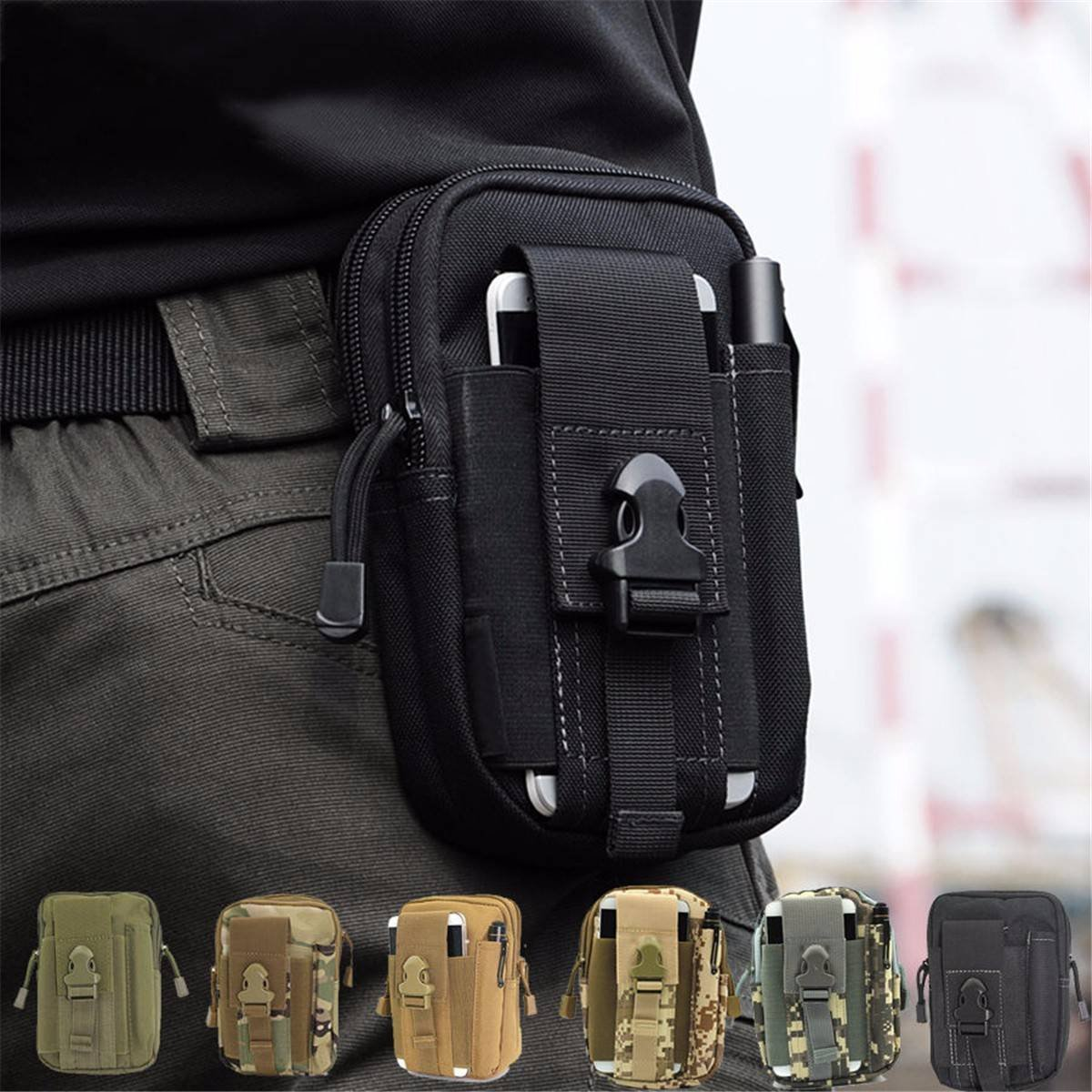CAMTOA Multi-Purpose Tactical Waist Bag Poly Tool Holder EDC Pouch Bag Military Utility Tactical Waist Pack Camping Hiking Pouch Arrny Green