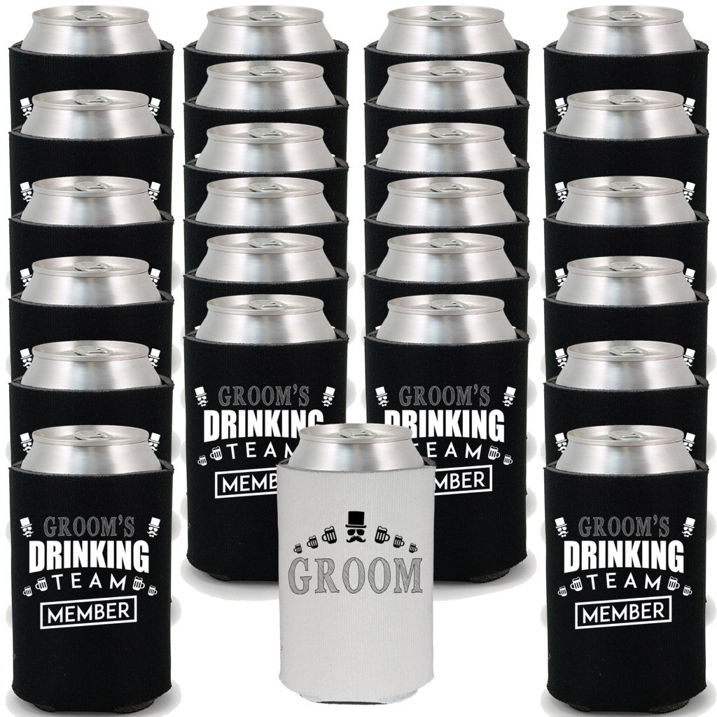 Shop4Ever Groom and Groom's Drinking Team 'Member' Can Coolie Wedding Drink Coolers Coolies (Member, Blk, 24 Pk) by Shop4Ever