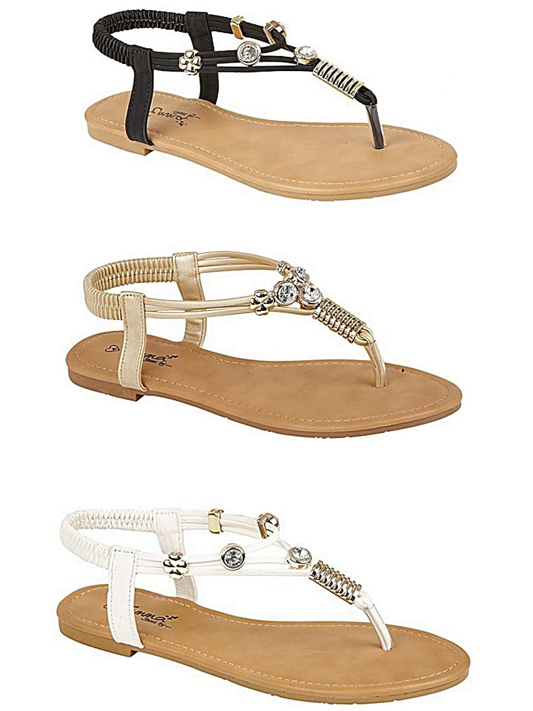 Damen Zehentreter, Leder Look Fashion, flach Zehensteg Flip Flop Sommer Sandale Schuhe, Größe 3