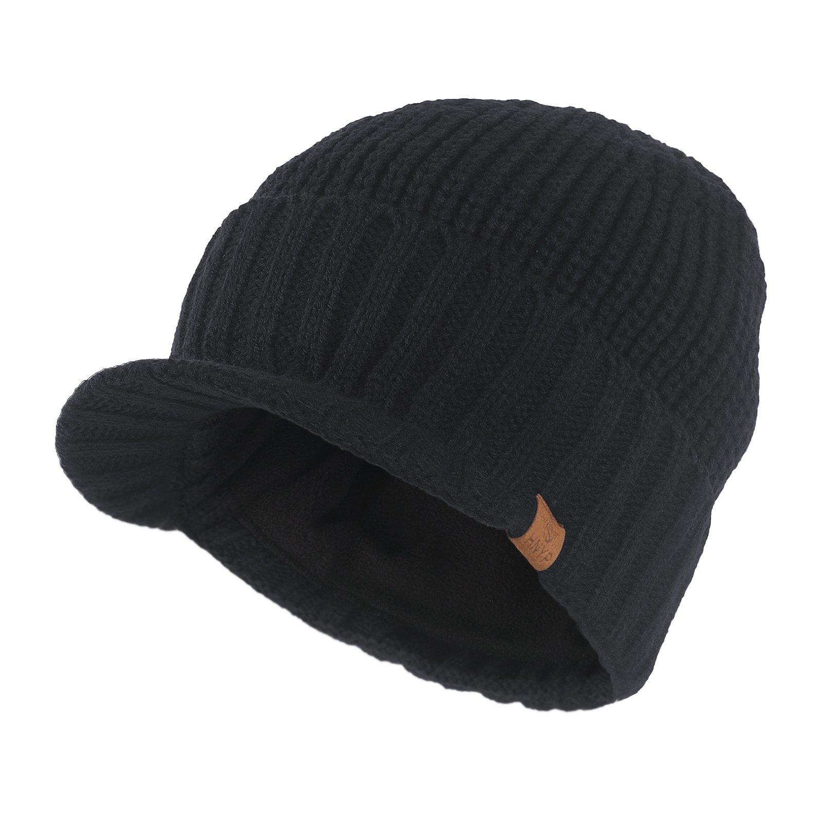 f6d5604e23c JaneyRubbins Knit Visor Brim Beanie Hats Fleece Lined Skull Ski Caps (Black)