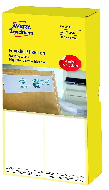 AVERY Zweckform 3434 Frankier-Etiketten (Papier matt, 1.000 Etiketten, 128 x 38 mm) 1 Pack weiß B000SO5UD0   Vorzügliche Verarbeitung