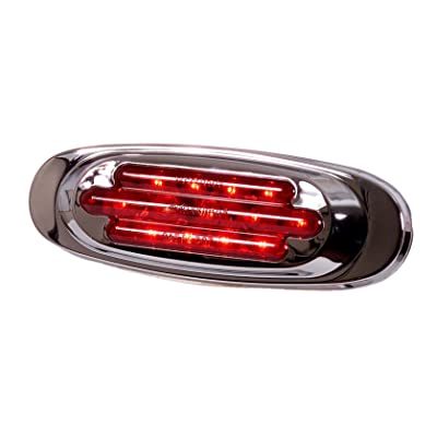 Maxxima M72270R 13 LED Red Oval Clearance Marker Light with Chrome Stainless Steel Bezel: Automotive