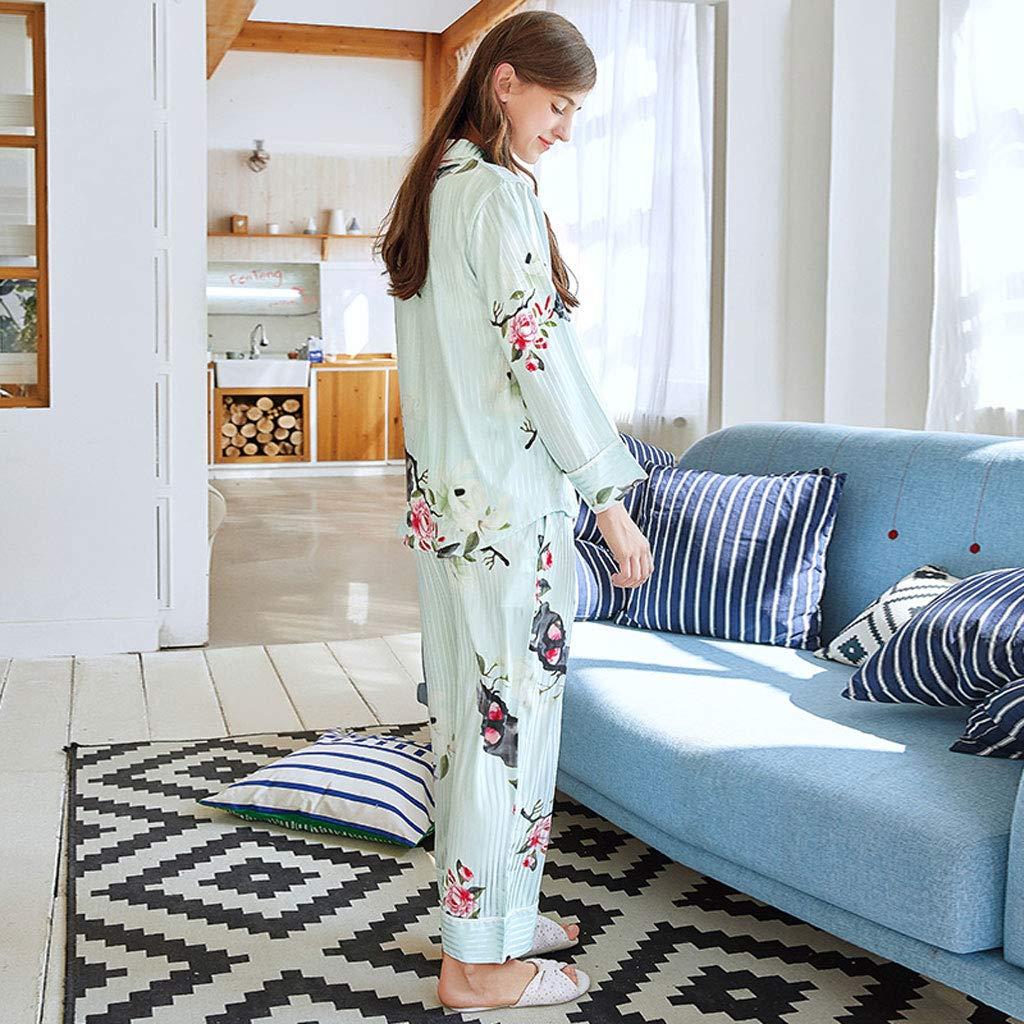 Pijamas de Seda de Mujer Sexy Cardigan Manga Larga Dulce HUXIUPING (Color : Blue, Tamaño : XL): Amazon.es: Hogar