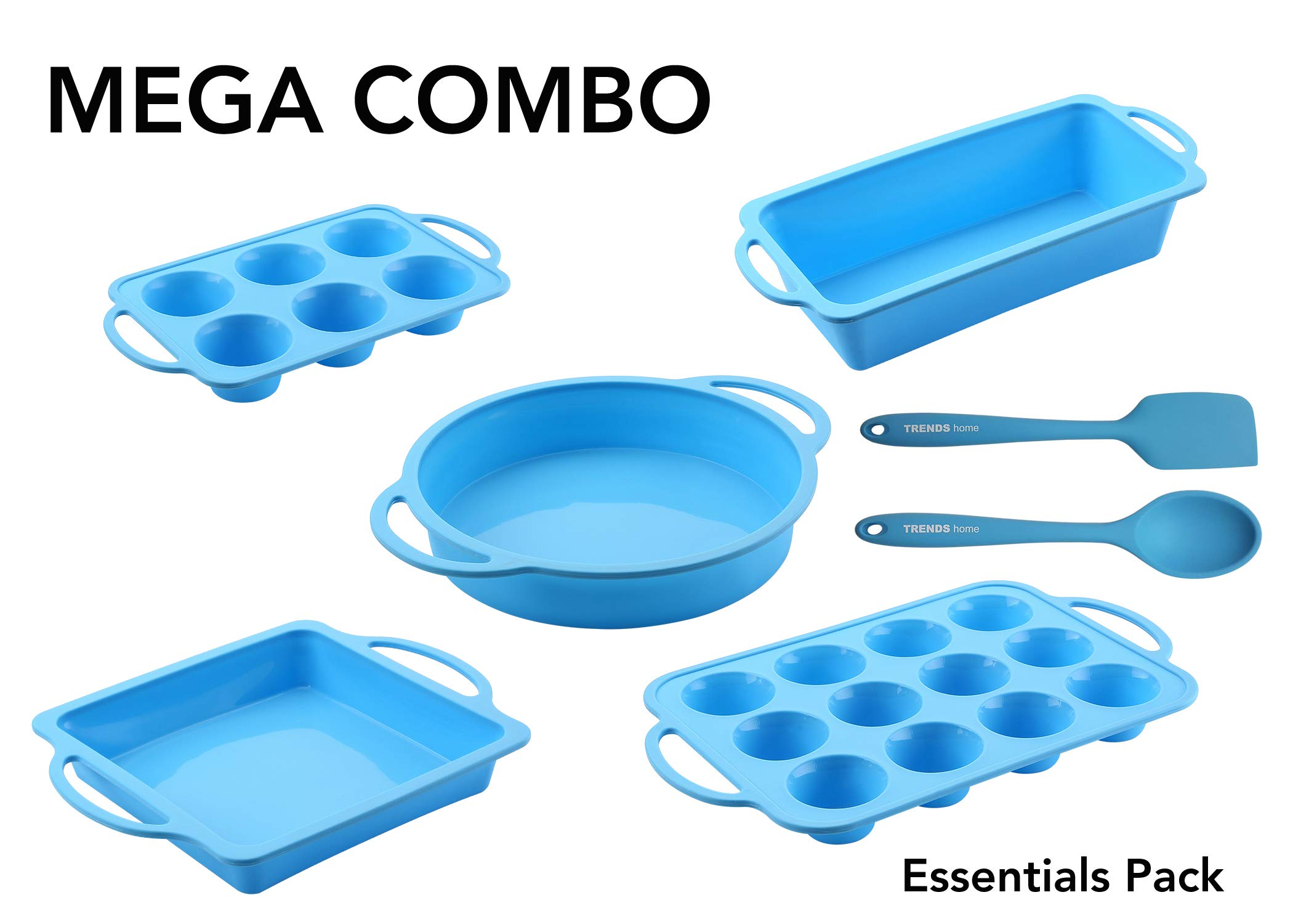 7 Pc Silicone Bakeware Set, 5 Baking Pans, BONUS Silicone Utensils. Non-Stick Silicone Baking Molds with reinforced frame for strength of a metal pan but flexibility of silicone moulds for baking.
