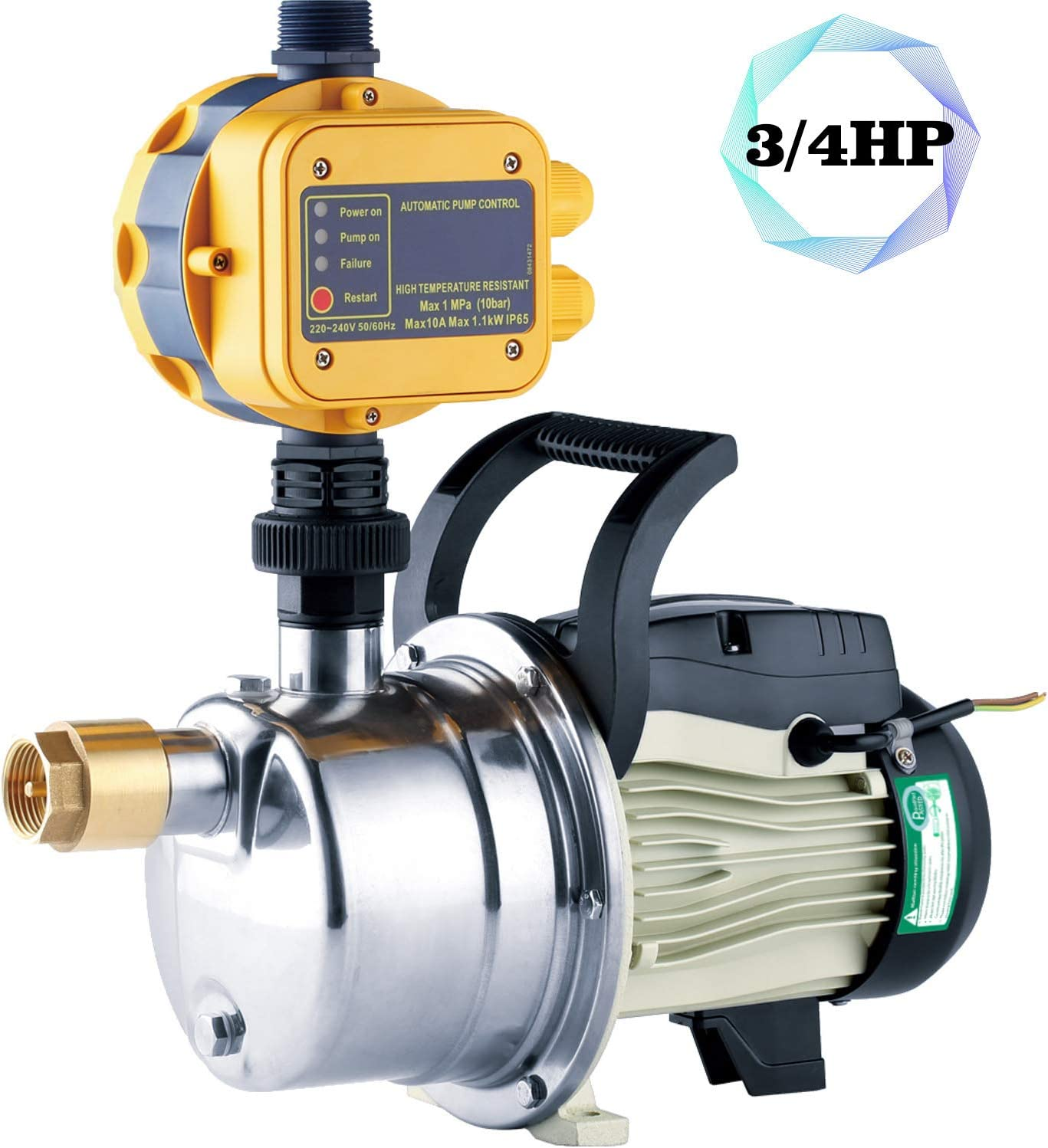 TDRFORCE 3/4 HP Pressure Booster Pump Automatic Water Pump Tankless Shallow Well Self-priming Jet Pump System