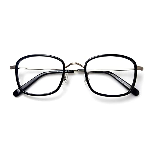 0607af67abb5 Komehachi - Retro Rectangle Eyeglasses Frames for Women Clear Lens Glasses  Designer (Black)
