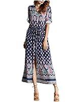 Eloise Isabel Fashion Bohemian maxi dress mulheres mulheres moda botão frontal up cinto arco longo boho