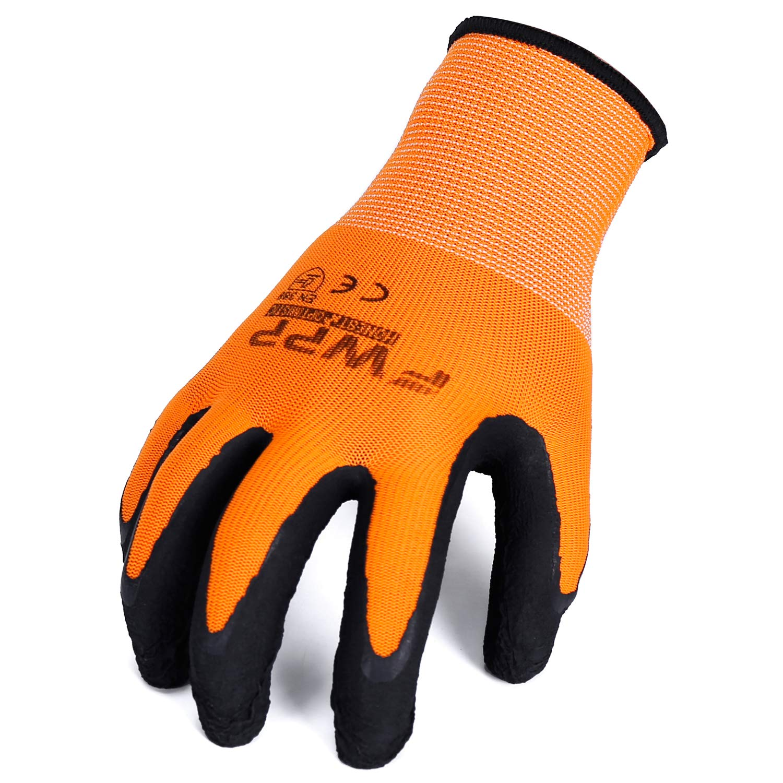 Pack of 120Pairs FWPP GL008005L120 Nylon Latex Wrinkle Coated Work Gloves Construction Gloves Large Fluorescence Orange