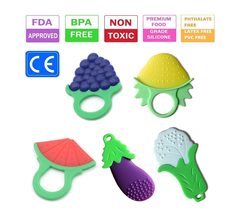 Jouet de dentition pour bébé, gel de silicone naturel pour fruits et légumes en gel (5 pièces) Leedemore