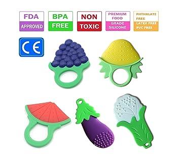 Mordedor para bebés, mordedor de silicona vegetal natural y orgánico (5 piezas)