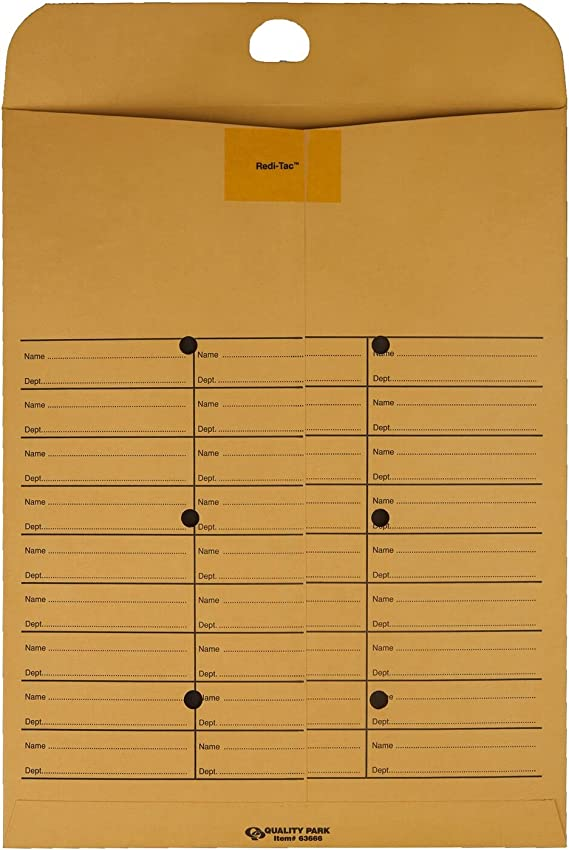 Quality Park 63666 Brown Kraft Redi Tac Box Style Interoffice Envelope 100//Box 10 x 13