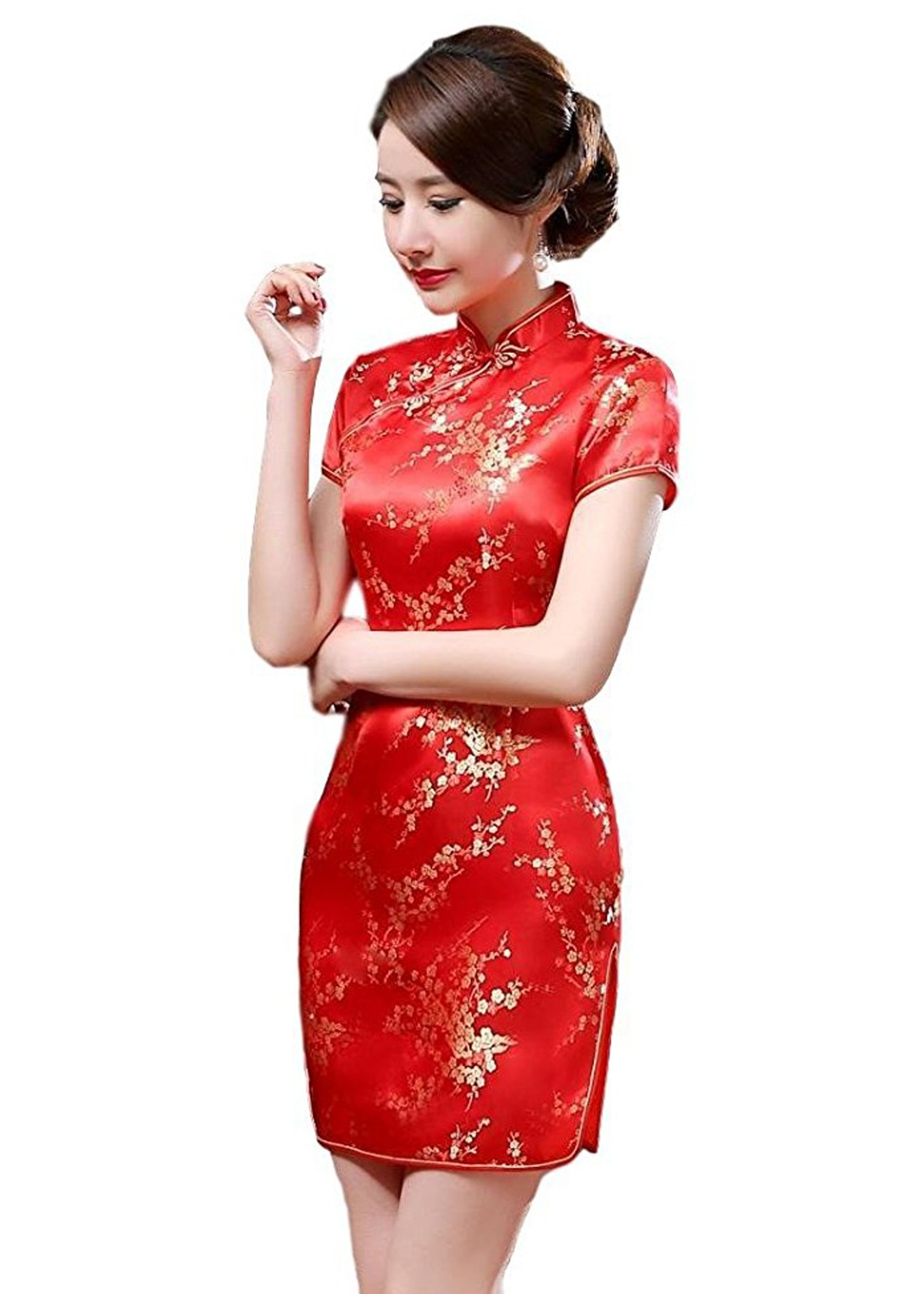 Maritchi Women's Sexy Floral Mini Chinese Evening Dress Cheongsam China Wedding Clothes (8(ChineseXL), Red)