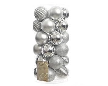Christbaumkugeln Silber Matt.30 Weihnachtskugeln Kunststoff 6cm Silber Matt Glanzend