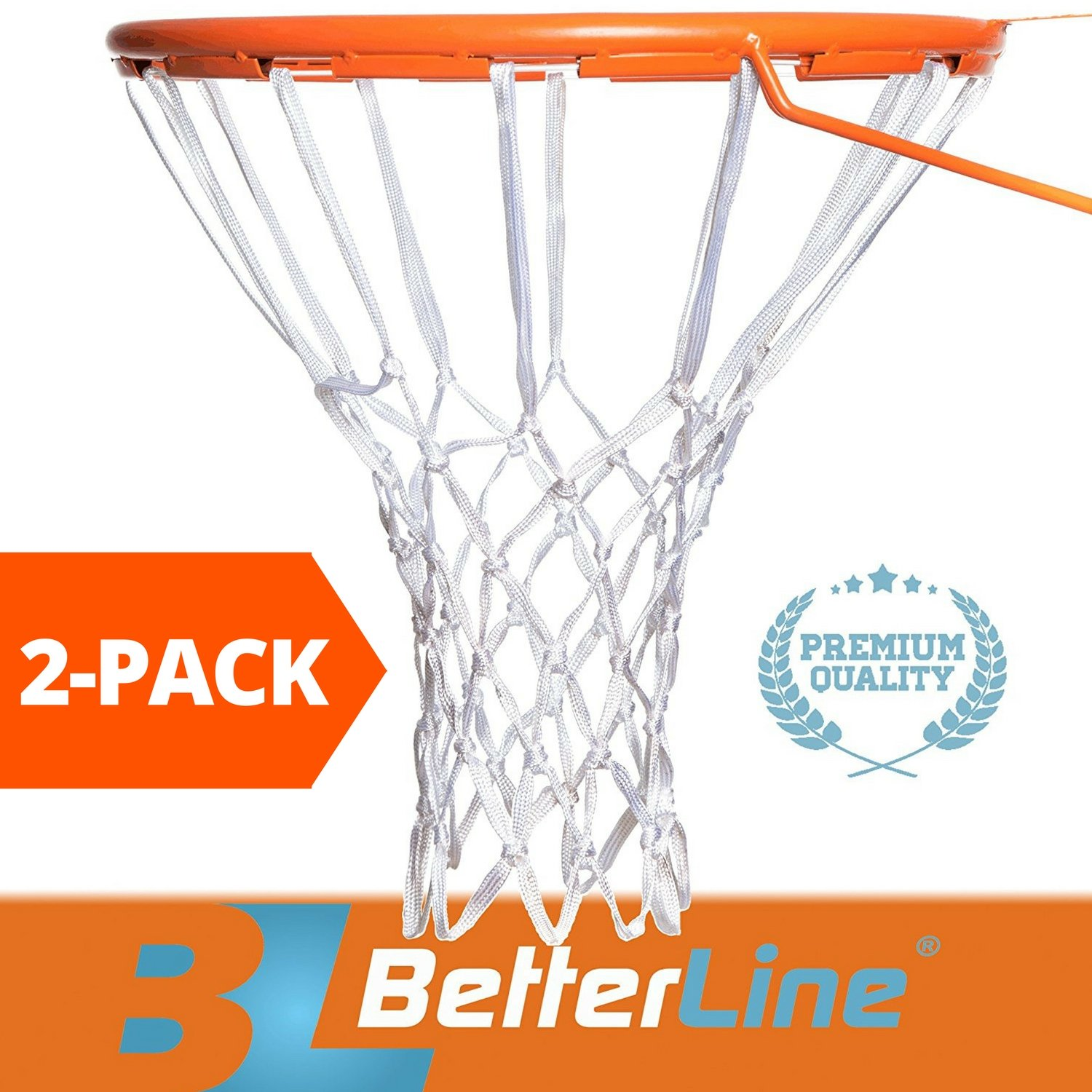 2-Pack Premium Quality Professional Basketball Net All-Weather Heavy Duty | Multi-pack - 12 Loop Nets (White) - 2 Basketball Nets in Pack Better Line ®