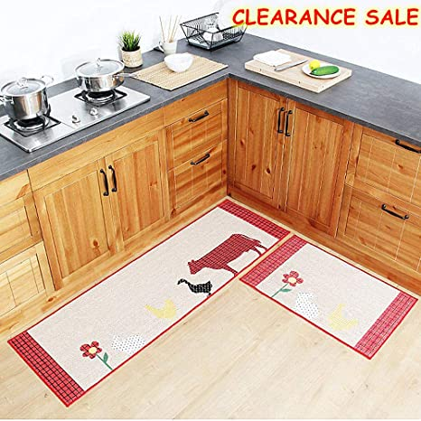 Ustide Countrystyle Animals Kitchen Rug Set Kitchen Floor Rug Washable Floor Runner Non Slip Washable Bath Mats Water Absorption Toilet Rugs Multi
