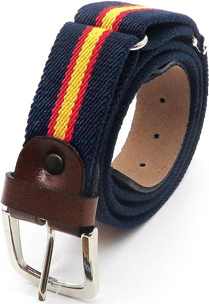 Cinturón de lona y piel con la bandera de España | Talla única Ajustable a cualquier medida | Cinto de hombre, caballero | Made in Spain (Elástico Bandera Ancha): Amazon.es: Ropa y accesorios