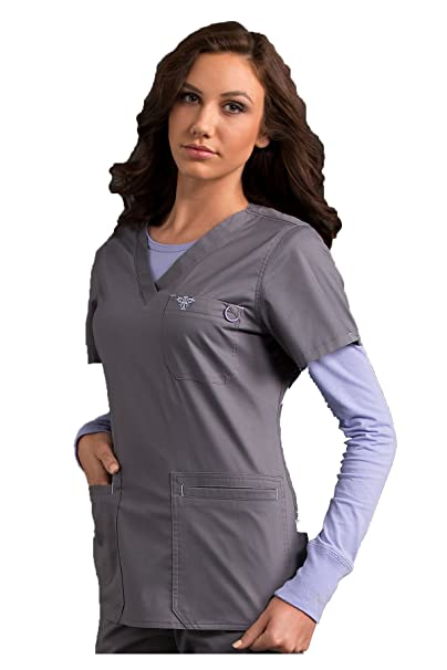 f4d3d73caf1 Image Unavailable. Image not available for. Color: Med Couture Women's  Heidi 8454 4 Pocket V-Neck Scrub Top- ...