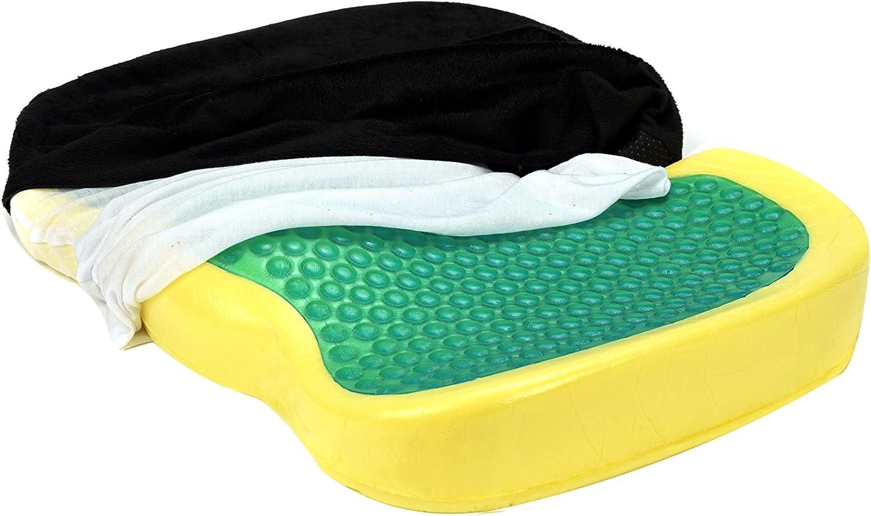 Tofern Memory Foam Silica Gel Pad Orthopedic Non-Slip Seat Cushion for Coccyx Sciatica Buttock Pain Black Nero