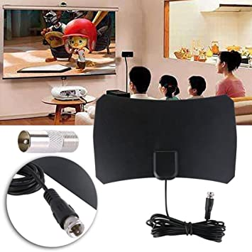 Inverlee 50 Mile Range Thin Flat Indoor HDTV Amplified HD TV VHF Antenna 10FT Coax Black