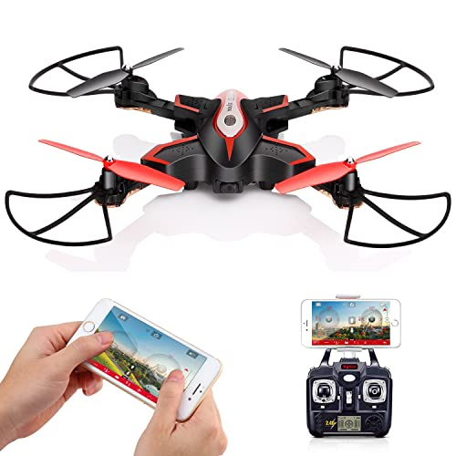 RC Drohne SYMA X56W mit HD Kamera WiFi FPV Quadrocopter LIVE-Übertragung Höhehaltung One Key Start/Landung Kopflos Modi Schwerkraft-Sensor 3D Flips App-Steuerung Schwarz
