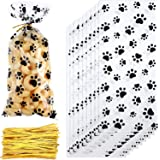 150 Pieces Clear Treat Bags Paw Print Cellophane Bags Pet Gift Bags with 150 Pieces Twist Ties for Party Supplies (Style…
