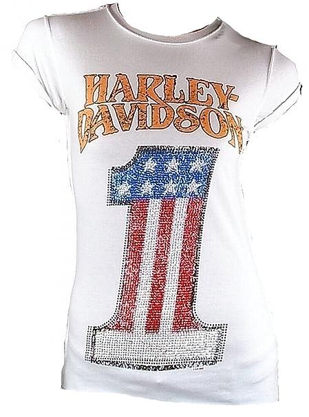 910bf6c5ba743a HARLEY-DAVIDSON H D Classic Damen T-Shirt Weiss Ufficiale Number One  Merchandise Strass USA 1: Amazon.it: Abbigliamento