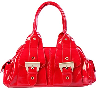 Ladies Red Patent Leather Designer Handbag Amazon Co Uk Shoes Bags
