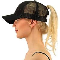 Pony Cap Cola de Caballo Sombrero de Gorra de Béisbol Malla Ajustable Las Mujeres Outdoor Dad Hat Negro