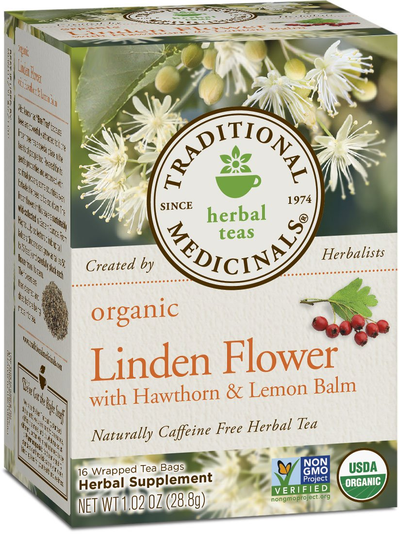 Traditional Medicinals Organic Linden Flower with Hawthorn and Lemon Balm Tea, 16 Tea Bags