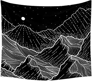Moon Mountain Tapestry Wall Decor - Black and White Mandala Tapestry for Bedroom Dorm Bathroom Home Hanging Blanket Line Art Print Moon Starry Stars Landscape Living Room Decoration (60''x80'')