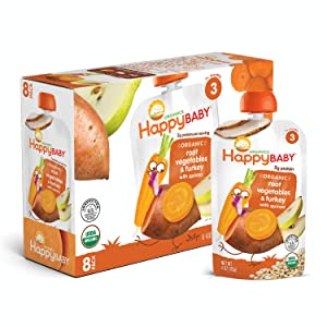 Happy Baby Organic Stage 3 Baby Food, Hearty Meals, Root Vegetables & Turkey with Quinoa, 4 Ounce (Pack of 8)