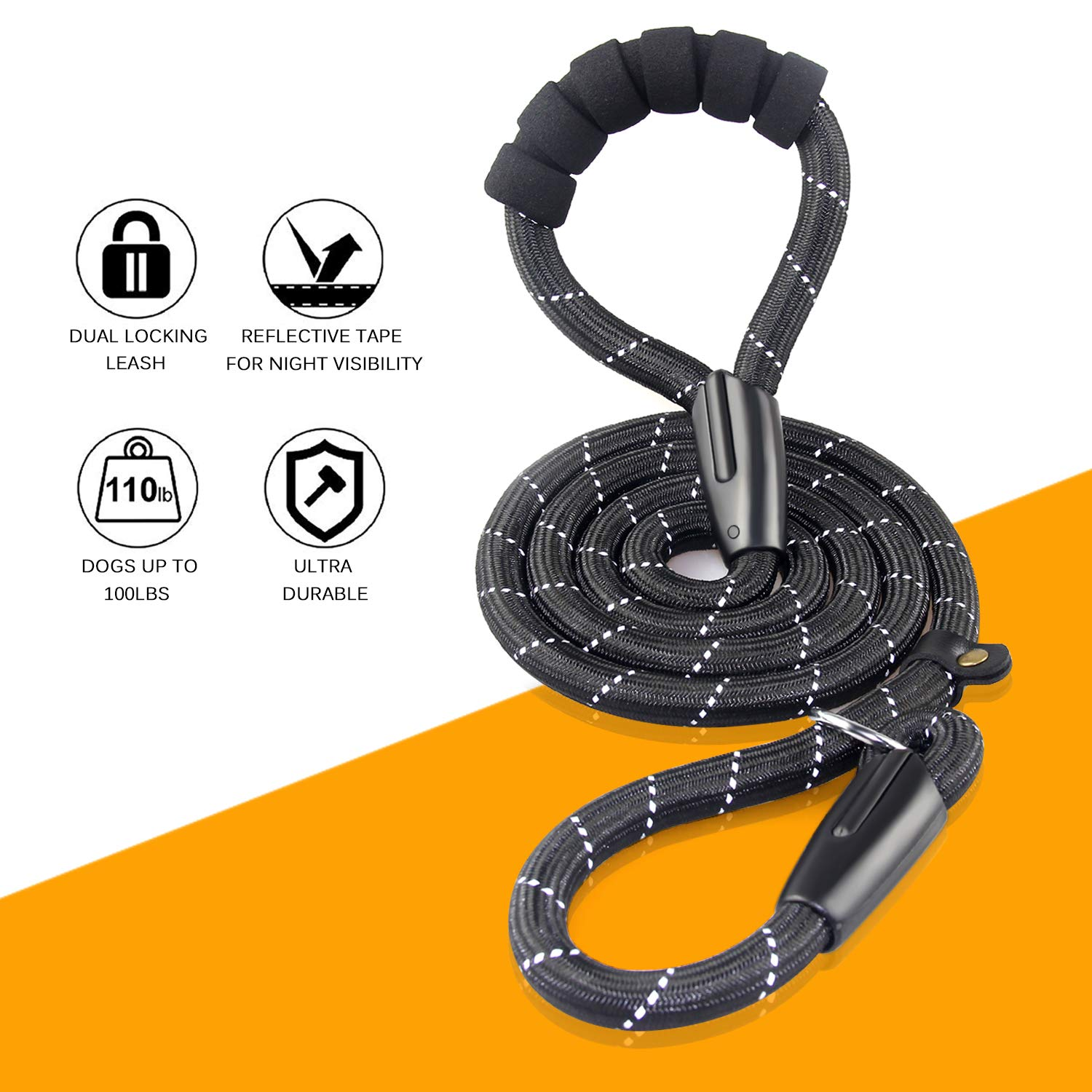 Heavy Duty Dog Leash,Durable Mountain Climbing Slip Lead Dog Leash with Soft Padded Handle, 6 Ft Reflective Rope Leash Perfect for Control of Medium Large Dog Walking Running at Night by Fashion&cool