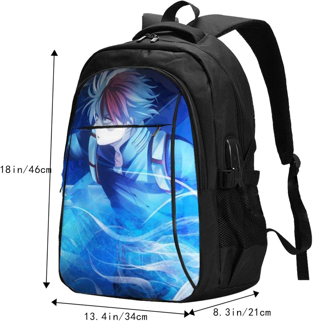 Travel Laptop My Hero Academia Shouto Todoroki Backpack with Headphone Port for Women /& Men,Water Repellent Anti-Theft Hiking Backpack for Women HIGT School Students Daypack