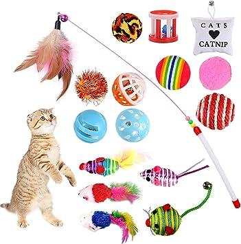 GOLDGE 16 Piezas Juguetes para Gatos, Juguete Interactivo con Plumas para Gatos, Ratóns y Bolas Varias para Gatos: Amazon.es: Productos para mascotas